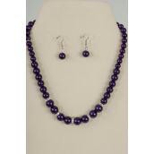 "Necklace Sets Graduate from 12 mm Glass Pearls Rhinestone Bezel Purple/Sets **Purple** 18"" Extension Chain,Hang tag & Opp bag & UPC Code"
