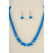 "Necklace Sets Graduate from 12 mm Glass Pearls Rhinestone Bezel Blue/Sets **Blue** 18"" Extension Chain,Hang tag & Opp bag & UPC Code"