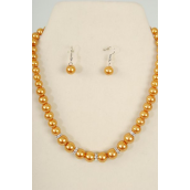 "Necklace Sets Graduate from 12 mm Glass Pearls Rhinestone Bezel Gold/Sets **Gold** 18"" Extension Chain,Hang tag ^ Opp bag & UPC Code -"