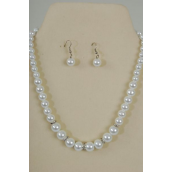 "Necklace Sets Graduate from 12 mm Glass Pearls Rhinestone Bezel White/Sets **White Pearl** 18"" Extension Chain,Hang tag & Opp bag & UPC Code -"