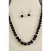 "Necklace Sets Graduate from 12 mm Glass Pearls Rhinestone Bezel Black/Sets **White** 18"" Extension Chain,Hang tag & Opp bag & UPC Code-"