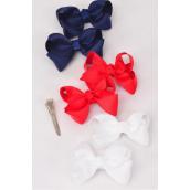 "Hair Bows 24 pcs Red White Navy Mix Grosgrain Bow-tie/DZ **Red White Navy Mix**Alligator Clip,Size-3 x 2"",4 of each Color Asst,Clip Strip & UPC Code,12 pair= Dozen"