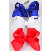 "Hair Bow Extra Jumbo Patriotic Red White  Royal Blue Mix Grosgrain Bow-tie/DZ **Red White Royal Blue Mix** Alligator Clip,Size-6""x 5"" Wide,4 Red,4 White,4 Royal Blue Color Asst,Clip Strip & UPC Code"