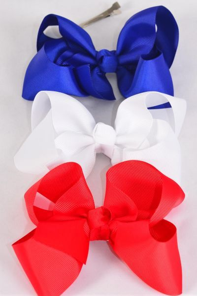 "Hair Bow Extra Jumbo Patriotic Red White  Royal Blue Mix Grosgrain Bow-tie/DZ **Red White Royal Blue Mix** Alligator Clip,Size-6""x 5"" Wide,4 of each Color Asst,Clip Strip & UPC Code"