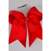 "Hair Bow Extra Jumbo Long Tail Crimson Red Alligator Clip Grosgrain Bow-tie/DZ **Crimson** Alligator Clip,Size-7""x 6"" Wide,Clip Strip & UPC Code"
