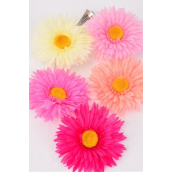 "Silk Flower Large Gerber Daisy Life Like Pink Mix Alligator Clip & Brooch & Elastic Pony/DZ **Pink Mix** Size-6"" wide,Alligator Clip & Brooch & Elastic Pony,3 Fuchsia,3 Beige,2 Hot Pink,2 Baby Pink,2 Peach,5 Color Asst"