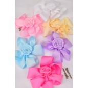 "Hair Bow Extra Jumbo Center Rose Pastel Grosgrain Bow-tie/DZ **Pastel** Alligator Clip,Size-6""x 6"" Wide,2 of each Color Asst,Clear Strip & UPC Code"
