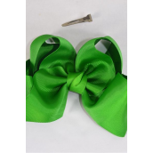 "Hair Bow Extra Jumbo Cheer Type Bow Kelly Or Irish or Christmas Green Grosgrain Bow-tie/DZ **Irish Green** Alligator Clip,Size-8""x 7"" Wide,Clip Strip & UPC Code"