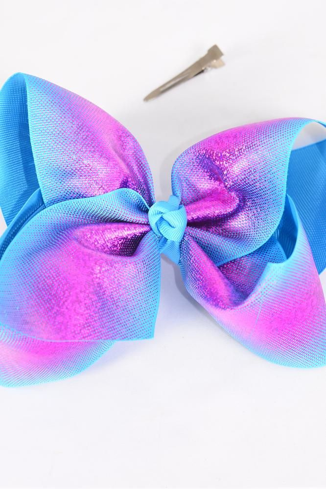 "Hair Bow Jumbo Cheer Type Bow Blue Fuchsia Mix Holographic Grosgrain Bow-tie/DZ **Blue Fuchsia Mix** Alligator Clip,Size-8""x 7"" Wide,Clip Strip & UPC Code"