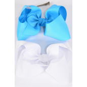 """Hair Bow Jumbo Turquoise & White Mix Grosgrain Bow-tie/DZ **Turquoise & White** Size-6""""x 5"""" Wide,Alligator Clip,6 of each Color Asst,Clip Strip & UPC Code"""