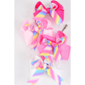 "Hair Bow Large Tiedye Rainbow Color Double Layer Long Tail Grosgrain Bow-tie Pink Mix/DZ **Pink Mix** Alligator Clip,Bow-6""x 6"" Wide,3 of each Color Asst,Clip Strip & UPC Code Wide"