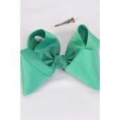 "Hair Bow Cheer Type Bow Kelly Green Grosgrain Bow-tie/DZ **Kelly Green** Alligator Clip,Size-8""x 7"" Wide,Clip Strip & UPC Code"