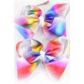 "Hair Bow Jumbo Cheer Type Bow Multi Holographic Grosgrain Bow-tie/DZ **Multi** Alligator Clip,Size-8""x 7"" Wide,6 of each color asst,Clip Strip & UPC Code"