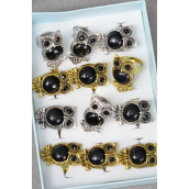 "Rings Owl Black Poly Adjustable/DZ ** Adjustable ** Owl Size-1.25""x 0.75"" wide, 6 Gold & 6 Silver Mix,1 Dz Velvet Ring Display Window Box,W OPP Bag & UPC code -"