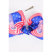 "Hair Bow Jumbo Center Clear Stone Patriotic-Flag Grosgrain Bow-tie/DZ **Alligator Clip** Size-6""x 5"" Wide,Clip Strip & UPC Code"