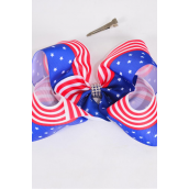 "Hair Bow Extra Jumbo Cheer Type Bow  Patriotic-Flag Center Clear Stone Grosgrain Bow-tie/DZ **Alligator Clip** Size-8""x 7"" Wide,Clip Strip & UPC Code"