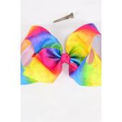 "Hair Bow Jumbo Cheer Type Bow Rainbow Tiedye Hearts Grosgrain Bow-tie/DZ **Alligator Clip** Size-8""x 7"" Wide,Clip Strip & UPC Code"