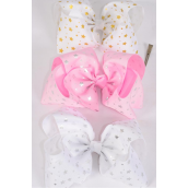 "Hair Bow Jumbo Cheer Type Bow Metallic Stars Grosgrain Bow-tie/DZ **Alligator Clip** Size-8""x 7"" Wide,4 of each Color Asst,Clip Strip & UPC Code"