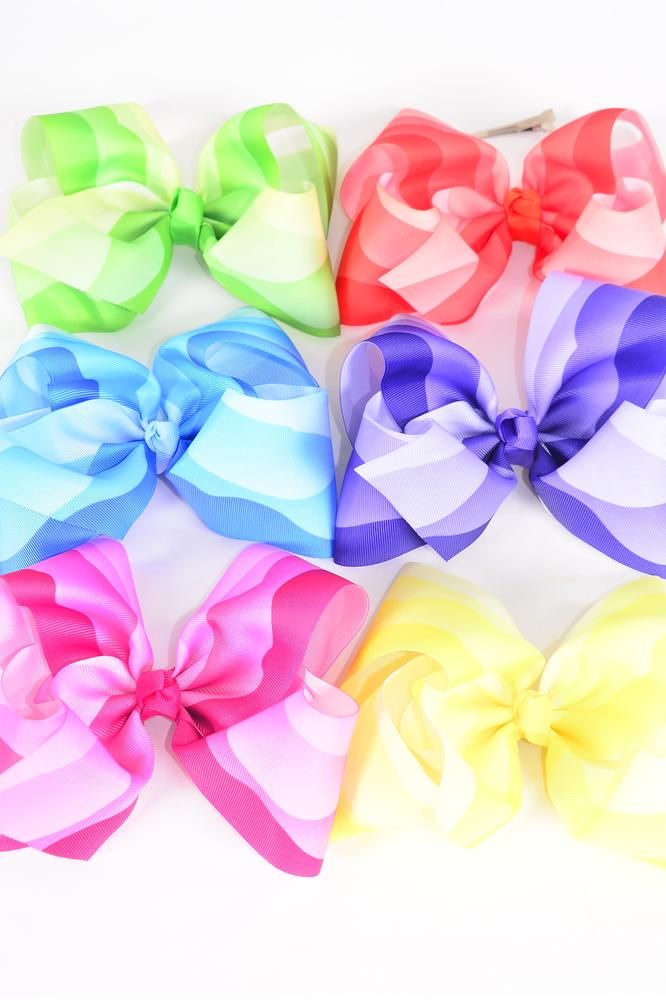 "Hair Bow Extra Jumbo Cheer Type Bow Gradient Grosgrain Bow-tie Multi/DZ **Multi** Alligator Clip,Size-8""x 7"" Wide,2 of each Color Asst,Clip Strip & UPC Code"