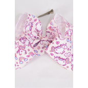 "Hair Bow Jumbo Cheer Type Bow Magical Unicorn Grosgrain Bow-tie Beige/DZ **Beige** Alligator Clip** Size-8""x 7"" Wide,Clip Strip & UPC Code"