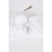 "Hair Bow Jumbo Cheer Type Bow Silver Metallic Stars Grosgrain Bow-tie/DZ **Silver**Alligator Clip** Size-8""x 7"" Wide,Clip Strip & UPC Code"