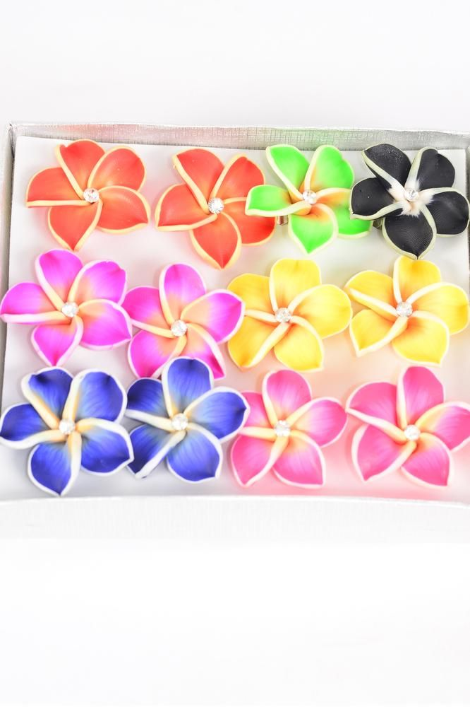 "Rings Paint Flower Aloha Multi/DZ match 03178 **Adjustable** Flower Size-1.25"" Wide, Paint W Polymer Clay,7 Color Asst, 1Dz Velvet Ring Display Window Box & OPP bag & UPC Code -"