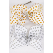 "Hair Bow Cheer Type Bow Metallic Polkadots Center Clear Stones Alligator Clip Grosgrain Bow-tie/DZ **Alligator Clip** Size-8""x 7"" Wide,6 of each Color Asst,Clip Strip & UPC Code"