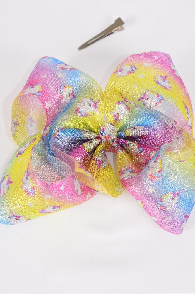 "Hair Bow Jumbo Cheer Type Bow Rainbow Metallic Unicorn Bow-tie/DZ **Alligator Clip** Size-8""x 7"" Wide,Clip Strip & UPC Code"