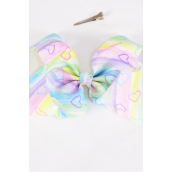 """Hair Bow Jumbo Cheer Type Bow Water Color W Heart Grosgrain Bow-tie/DZ **Alligator Clip** Size-8""""x 7"""" Wide,Clip Strip & UPC Code"""