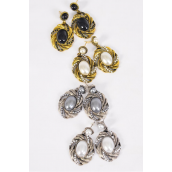 """Earrings Metal Antique Oval Pearl Drops/DZ **Post** Size-1.5""""x 1"""" Wide,3 of each Color Asst,Earring Card & OPP bag & UPC Code -"""