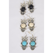 "Earrings Metal Antique Owl Semiprecious Stone/DZ **Fish Hook** Size-1.25""x 1"" Wide,4 Black,4 Ivory,4 Turquoise Asst,Earring Card & OPP Bag & UPC Code -"
