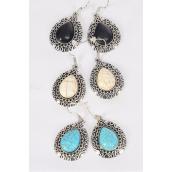 "Earrings Metal Antique Teardrop Semiprecious Stone/DZ **Fish Hook** Size-1.25""x 1"" Wide,3 Black,3 Ivory,6 Turquoise Asst,Earring Card & OPP Bag & UPC Code -"