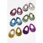 "Earrings Poly Teardrop Brush Stroke Multi/DZ **Multi** Fish Hook,Size-2.25"" x 1.5"" Wide,Finish 2 Side,2 of each Color Asst,Earring Card & OPP Bag & UPC Code -"