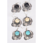 "Earrings Metal Antique Elephant Semiprecious Stone/DZ match 26103 **Fish Hook** Size-1""x 1"" Wide,4 Black,4 Ivory,4 Turquoise Asst,Earring Card & OPP Bag & UPC Code"