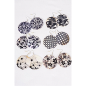 "Earrings Real Seashell Black & White Mix Patterns/DZ **Fish Hook** Size-2"" Wide,2 of each Pattern Mix,Earring Card & OPP bag & UPC Code"