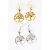 "Earrings Antique Silver Tree of life/DZ match 25706 **Fish Hook** Size-1.5"" x 0.75"" Wide,6 Gold,6 Silver Asst,Earring Card & OPP Bag & UPC Code -"
