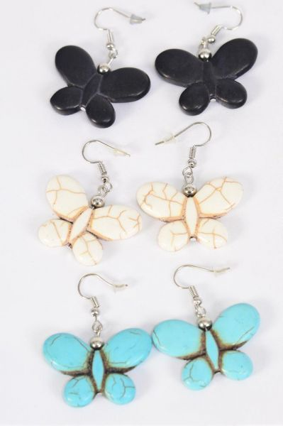 "Earrings Butterfly Hand Carved Double Sided Real Semiprecious Stone/DZ **Fish Hook** Size-1.25""x 1"" Wide,4 Black,4 Ivory,4 Turquoise Asst,Earring Card & OPP Bag & UPC Code"