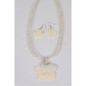 """Necklace Sets Real Seashell Flower Hand Caved/Sets **Fish Hook**  20"""" Long,Pendant Size-2"""" Wide,Hang Tag & OPP bag & UPC Code"""