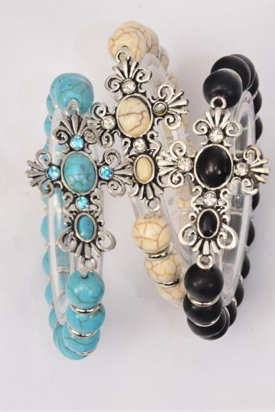 "Bracelet Side Way Cross Stretch 10 mm Semiprecious Stone/DZ match 75025 **Stretch** Cross-1.75""x 1.25"" Wide,4 Black,4 Ivory,4 Turquoise Asst,Hang Tag & OPP Bag & UPC Code"