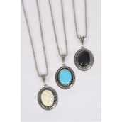 "Necklace Silver Chain Metal Antique Oval Semiprecious Stone/DZ match 25650 Pendant-1.75"" x 1.25"" Wide,Chain-18"" Extension Chain,4 Ivory,4 Black,4 Turquoise Asst,Hang Tag & OPP Bag & UPC Code"