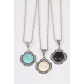 "Necklace Silver Chain Metal Antique Round Semiprecious Stone/DZ Pendant-1.5"" Wide,Chain-18"" Extension Chain,4 Ivory,4 Black,4 Turquoise Asst,Hang Tag & OPP Bag & UPC Code"