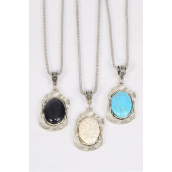 """Necklace Silver Chain Metal Oval Antique Round Semiprecious Stone/DZ Pendant-1.5"""" x 1"""" Wide,Chain-18"""" Extension Chain,4 Ivory,4 Black,4 Turquoise Asst,Hang Tag & OPP Bag & UPC Code"""
