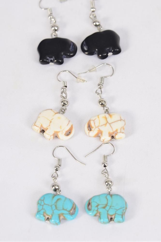 "Earrings Elephants All Hand Carved Real Semiprecious Stone/DZ match 70158 **Fish Hook** Size-1""x 0.75"" Wide,4 Black,4 Ivory,4 Turquoise Asst,Earring Card & OPP Bag & UPC Code"