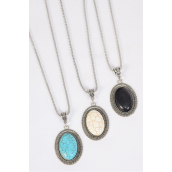 "Necklace Silver Chain Metal Antique Oval Semiprecious Stone/DZ match 26098 Pendant-1.75"" x 1.25"" Wide,Chain-18"" Extension Chain,4 Ivory,4 Black,4 Turquoise Asst,Hang Tag & OPP Bag & UPC Code"