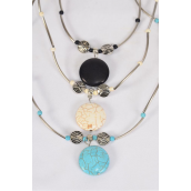 "Necklace Silver Aztec Round Pendant Semiprecious Stone/DZ Pendant-1"" Wide,Chain-18"" Extension Chain,3 Ivory,3 Black,6 Turquoise Asst,Hang Tag & OPP Bag & UPC Code"