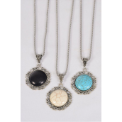 """Necklace Silver Chain Metal Antique Semiprecious Stone Pendant/DZ Pendant-1.5"""" x 1"""" Wide,Chain-18"""" Extension Chain,4 Ivory,4 Black,4 Turquoise Asst,Hang Tag & OPP Bag & UPC Code"""