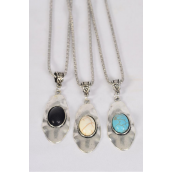 "Necklace Silver Chain Oval Metal Antique Oval Semiprecious Stone/DZ match 03095 Pendant-2"" x 1"" Wide,Chain-18"" Extension Chain,4 Ivory,4 Black,4 Turquoise Asst,Hang Tag & OPP Bag & UPC Code"