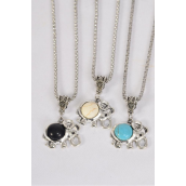 """Necklace Silver Chain Elephant Semiprecious Stone/DZ match 02668 Pendant-1""""x 1"""" Wide,Chain-18"""" Extension Chain,4 Ivory,4 Black,4 Turquoise Asst,Hang Tag & OPP Bag & UPC Code"""