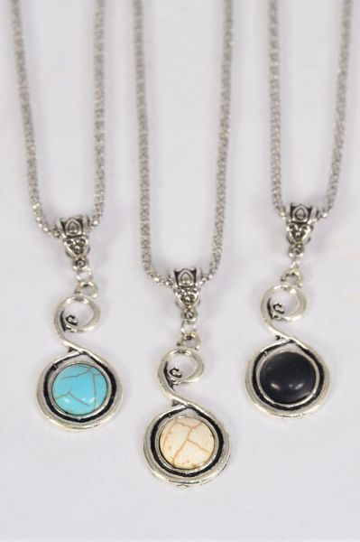 "Necklace Silver Chain Metal Antique Swirl Semiprecious Stone/DZ match 01084 Pendant-1.5"" x 1"" Wide,Chain-18"" Extension Chain,4 Ivory,4 Black,4 Turquoise Asst,Hang Tag & OPP Bag & UPC Code"