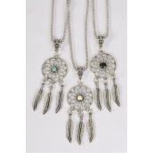 "Necklace Silver Chain Metal Dream Catcher  Antique Semiprecious Stone/DZ match 02992 Pendant Size- 2.25""x 1"" Wide,Chain-18"" Extension Chain,4 Ivory,4 Black,4 Turquoise Asst,Hang Tag & OPP Bag & UPC Code"